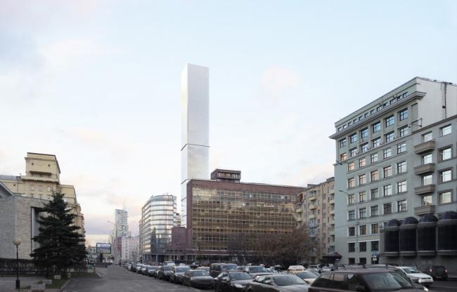 Многофункциональный комплекс на Мясницкой улице. Вид 2 с проспекта Академика Сахарова. Вариант 150 м