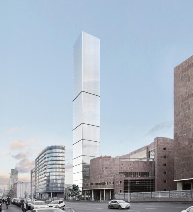 Многофункциональный комплекс на Мясницкой улице. Вид 3 с проспекта Академика Сахарова. Вариант 140 м