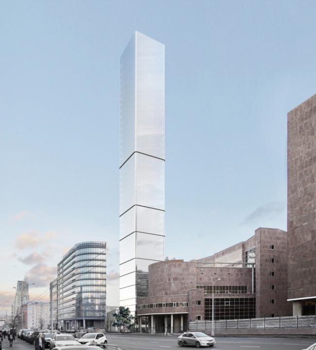 Многофункциональный комплекс на Мясницкой улице. Вид 3 с проспекта Академика Сахарова. Вариант 150 м