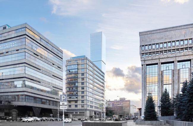 Многофункциональный комплекс на Мясницкой улице. Вид 4 с Садового кольца. Вариант 125 м