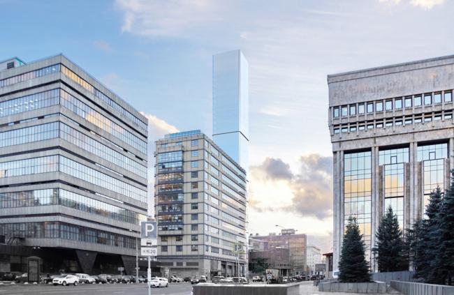 Многофункциональный комплекс на Мясницкой улице. . Вид 4 с Садового кольца. Вариант 140 м