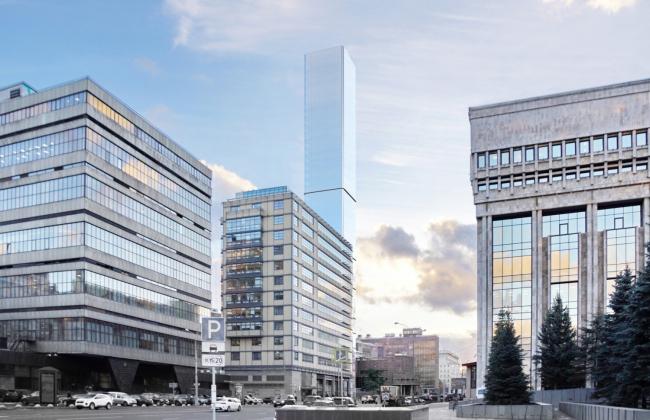 Многофункциональный комплекс на Мясницкой улице. Вид 4 с Садового кольца. Вариант 150 м
