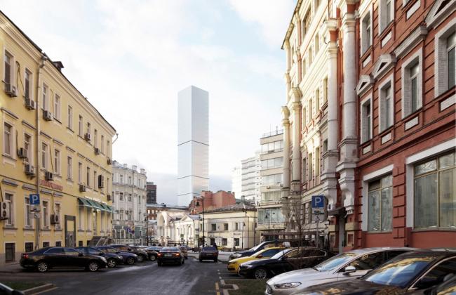 Многофункциональный комплекс на Мясницкой улице. Вид 5 с Мясницкого проезда. Вариант 125 м