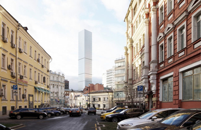 Многофункциональный комплекс на Мясницкой улице. Вид 5 с Мясницкого проезда. Вариант 140 м