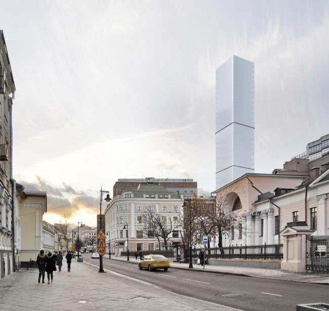 Многофункциональный комплекс на Мясницкой улице. Вид 6 с Мясницкой улицы. Вариант 125 м