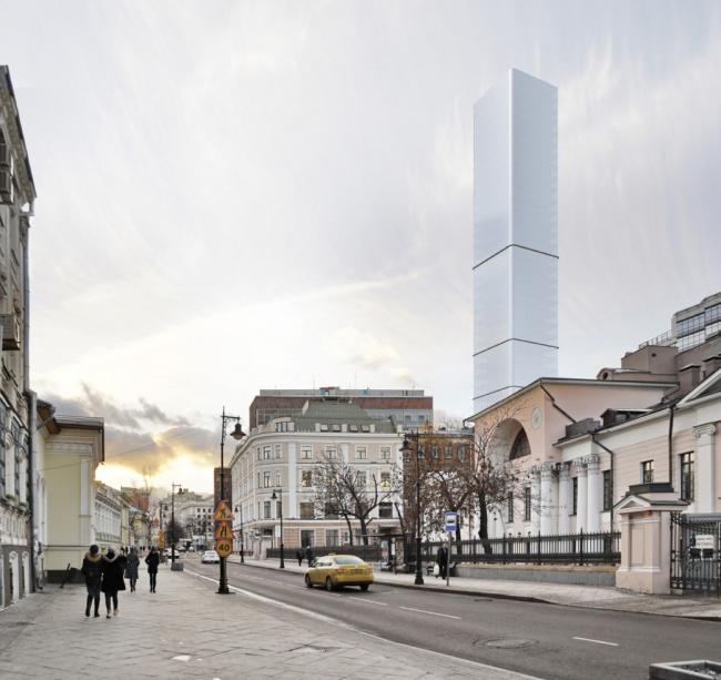 Многофункциональный комплекс на Мясницкой улице. Вид 6 с Мясницкой улицы. Вариант 140 м