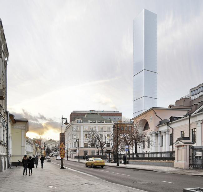 Многофункциональный комплекс на Мясницкой улице. Вид 6 с Мясницкой улицы. Вариант 150 м