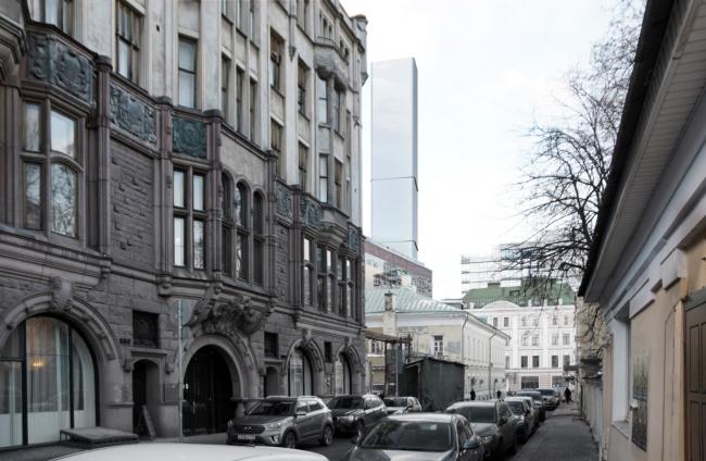 Многофункциональный комплекс на Мясницкой улице. Вид 7 с Малого Харитоньевского переулка. Вариант 140 м