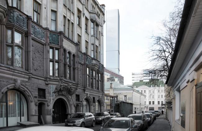 Многофункциональный комплекс на Мясницкой улице. Вид 7 с Малого Харитоньевского переулка. Вариант 150 м