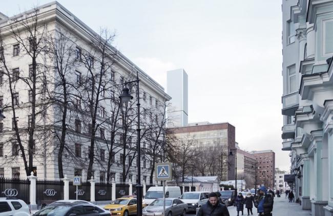 Многофункциональный комплекс на Мясницкой улице. Вид 8 с Мясницкой улицы. Вариант 125 м
