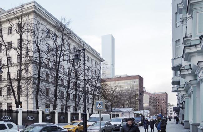 Многофункциональный комплекс на Мясницкой улице. Вид 8 с Мясницкой улицы. Вариант 140 м