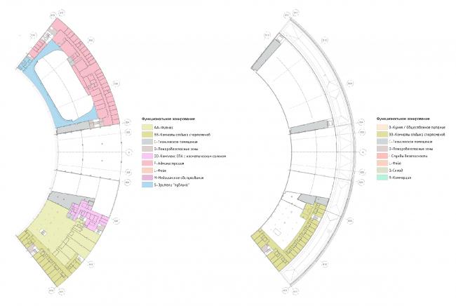 Проект реконструкции СКК «Петербургский». План 2 этажа (+4.200), План 3 этажа (+8.400)