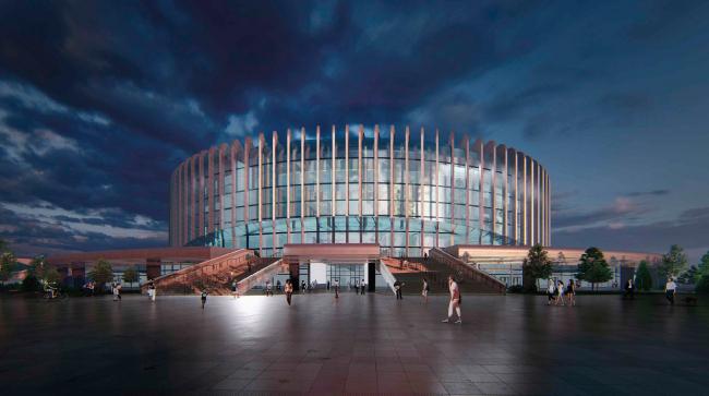 Перспективный вид с проспекта Юрия Гагарина ночью. Проект реконструкции СКК «Петербургский»