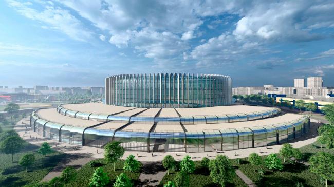Перспективный вид с проспекта Космонавтов. Проект реконструкции СКК «Петербургский»