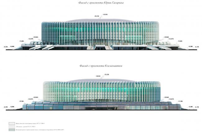 Фасад с проспекта Юрия Гагарина. Проект реконструкции СКК «Петербургский»