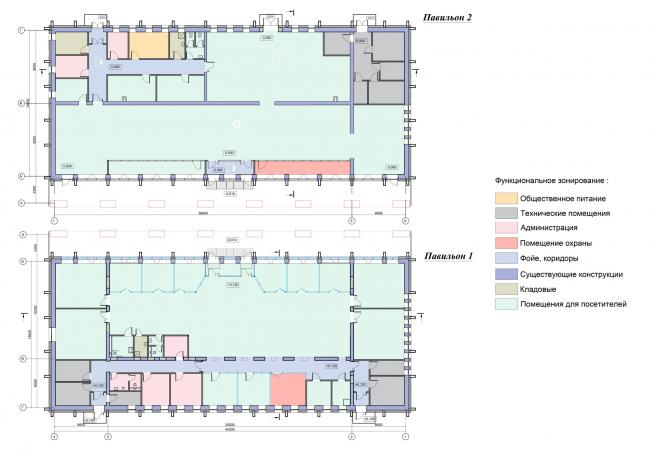 Проект реконструкции СКК «Петербургский». Планы этажей павильонов
