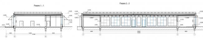 Проект реконструкции СКК «Петербургский». Разрез по павильону 1