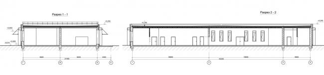 Проект реконструкции СКК «Петербургский». Разрез по павильону 2