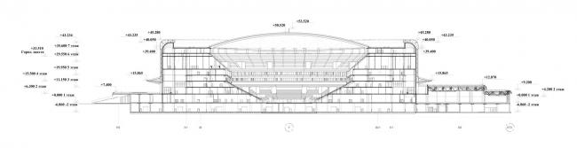 Проект реконструкции СКК «Петербургский». Разрез 1-1