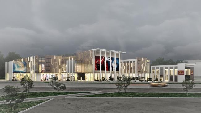 Торговый комплекс в ЖК «Испанские кварталы». Вид на ТРЦ ночью от жилой застройки