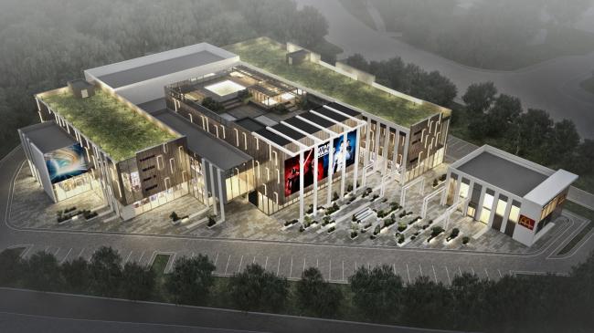Торговый комплекс в ЖК «Испанские кварталы». Вид на участок и эксплуатируемую кровлю