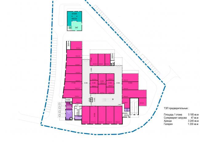 Торговый комплекс в ЖК «Испанские кварталы». План 1 этажа