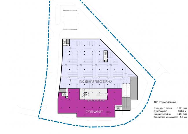 Торговый комплекс в ЖК «Испанские кварталы». План подземного этажа с паркингом