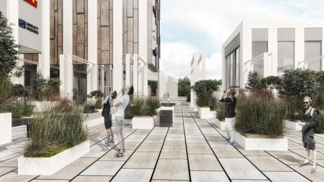 Торговый комплекс в ЖК «Испанские кварталы». Вид на главную площадь у ТРЦ с элементами благоустройства