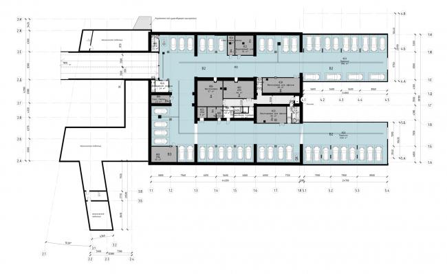 """Офисный центр """"Beetle"""". 2 этап. План -1 этажа на отм. -3.800 (0.000=124,09)"""
