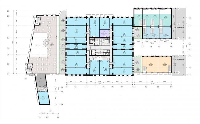 """Офисный центр """"Beetle"""". 2 этап. План 2 этажа на отм. +3.900 (0.000=124,09)"""