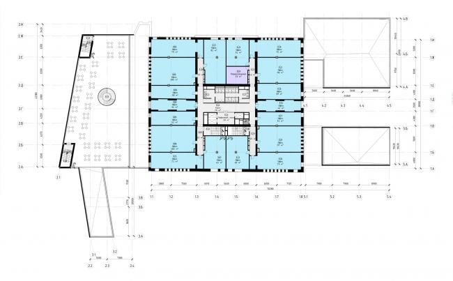"""Офисный центр """"Beetle"""". 2 этап. План 3 этажа на отм. +7.050 (0.000=124,09)"""