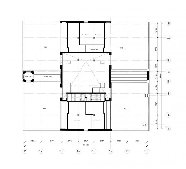 """Офисный центр """"Beetle"""". 2 этап. План площадки для размещения оборудования на отм. +19.650 (0.000=124,09)"""