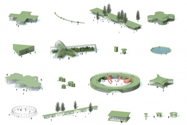 Парк «Швейцария». Парковые павильоны
