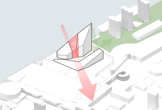 Комплекс Garden Rift Tower. Схема исторической оси и нового квартала