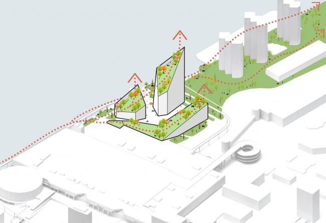 Комплекс Garden Rift Tower. Схема висячих садов