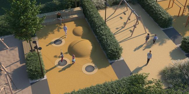 Двор с детскими площадками в западной части. Апарт-комплекс «Новоданиловская 8»
