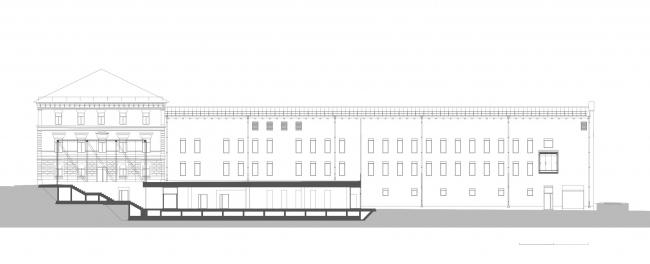 Комплекс офисных зданий на Верхней Красносельской улице. Разрез