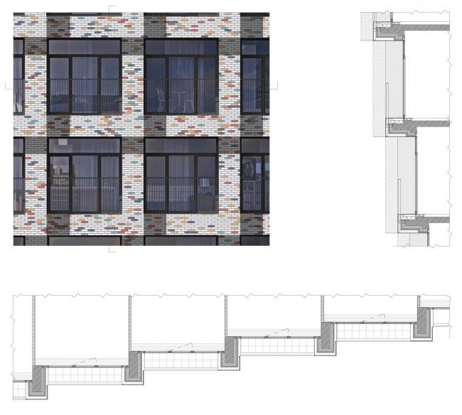 Фрагмент фасада. Апарт-комплекс «Новоданиловская 8»