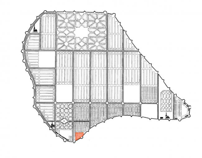 Жилой комплекс «Красин». проектный план Васильевского острова, Доменико Трезини 1717 г. © Студия 44