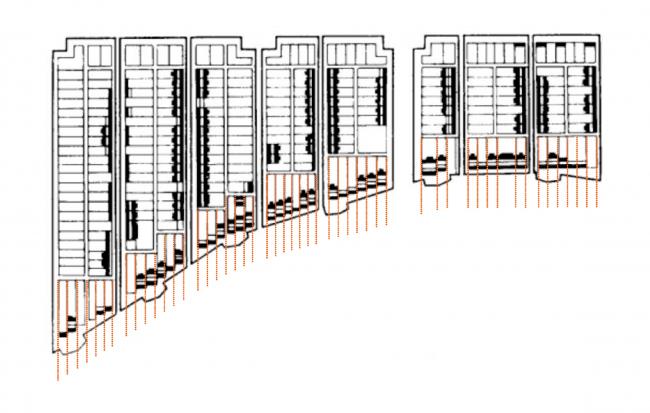 Жилой комплекс «Красин». деление на участки в 10 саженей (21,3 м) Трезини-Леблон. © Студия 44