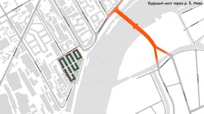 Жилой комплекс «Красин». Будущий мост через реку Б. Нева