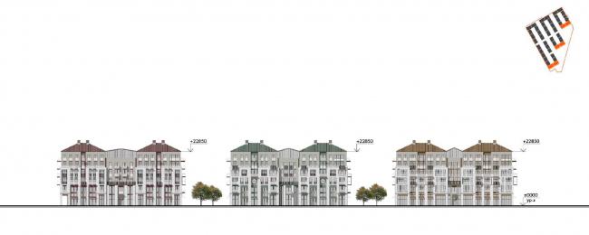 Жилой комплекс «Красин». Фасад по набережной Лейтенанта Шмидта