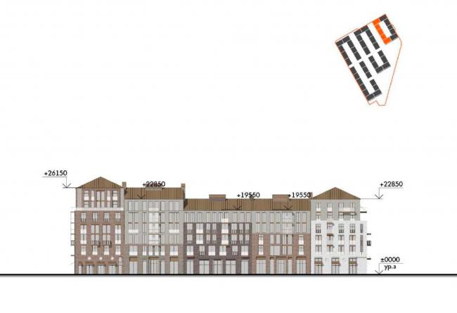 Жилой комплекс «Красин». Фасад по внутренней улице