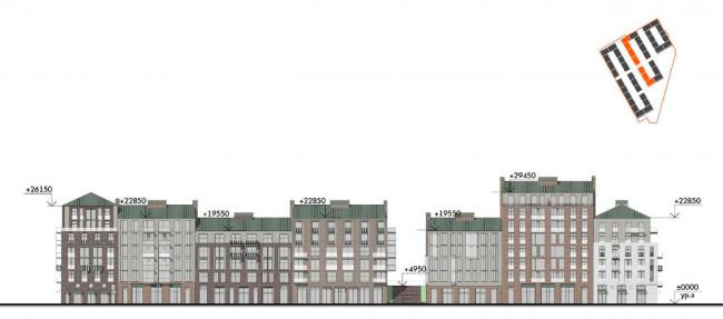 Жилой комплекс «Красин». Фасад по 24 линии В.О