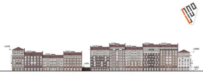 Жилой комплекс «Красин». Фасад по набережной Масляного канала