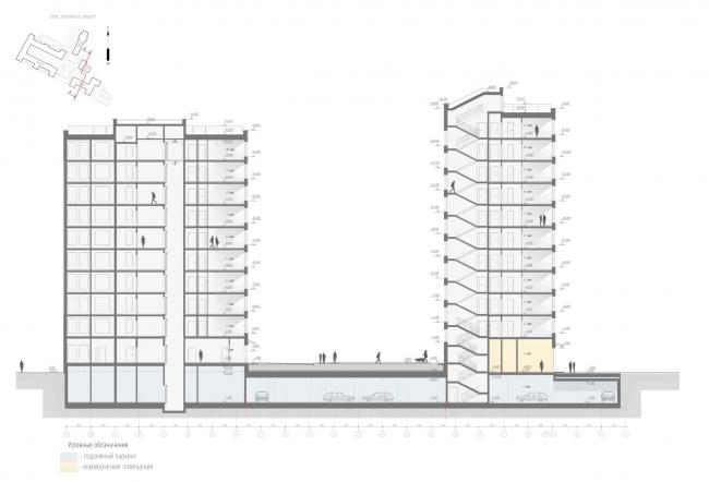 Жилой комплекс «Ligovsky City. Второй квартал». Разрез 4-4 корпус 3,4