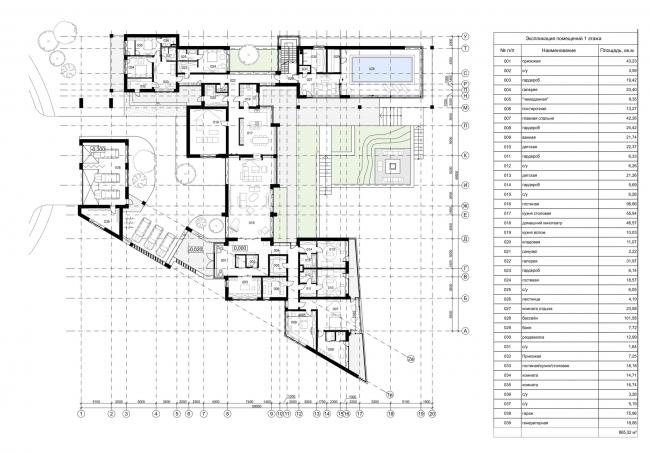 Проект загородного дома Buena Vista. План 1 этажа