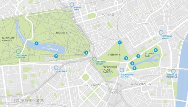 Карта расположения киоск в Королевских парках Лондона