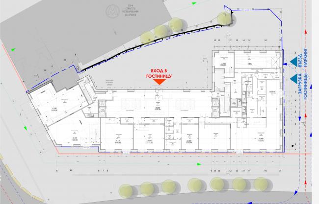 Реконструкция здания гостиницы «Варшава». План 1 этажа