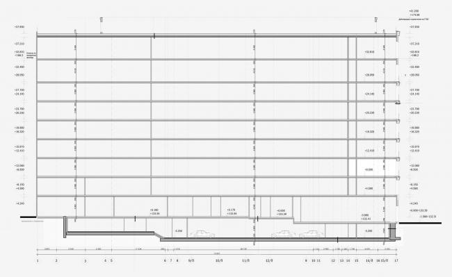 Реконструкция здания гостиницы «Варшава». Схема разреза 2-2